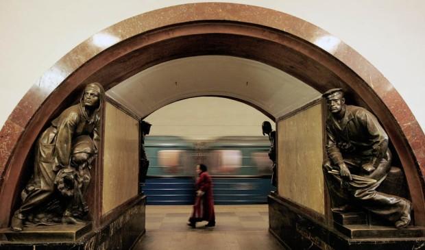 A Russian woman walks in the Ploshad Rev