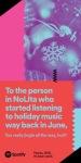 """""""Alla persona di NoLIta (quartiere nel borough di Manhattan) che ha iniziato ad ascoltare canzoni di Natale a giugno, davvero canticchierai fino alla fine?"""""""
